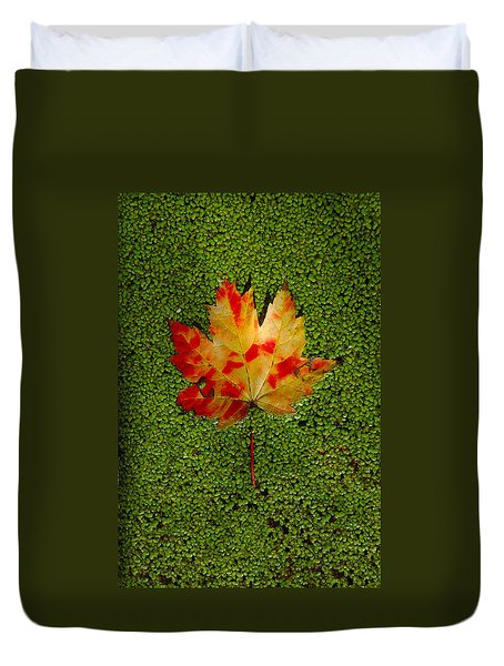 Leaf Floating On Duckweed Duvet Cover