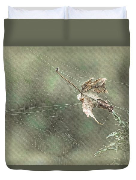 Leaf In Spiderweb Duvet Cover