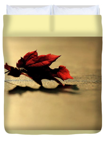 Leaf On The Garage Floor Duvet Cover
