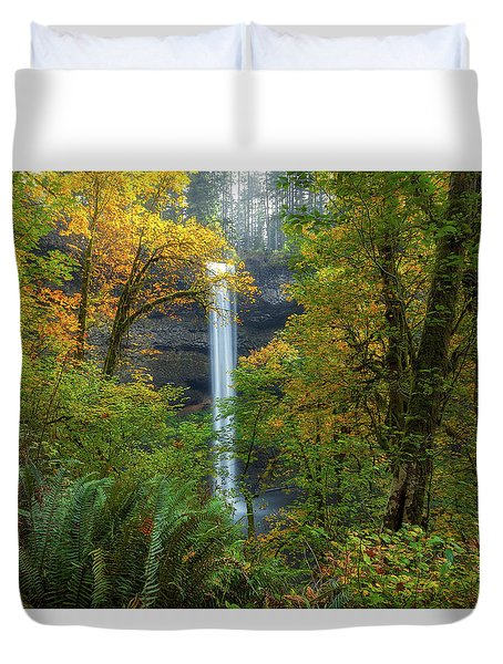 Leaf Peeping And Waterfall Duvet Cover by David Gn