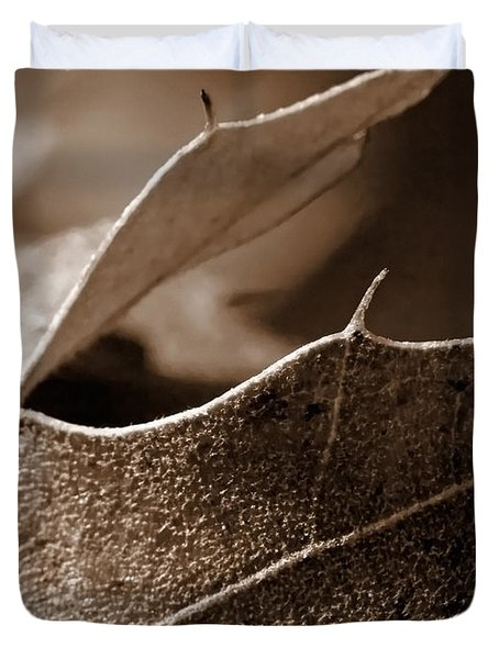 Leaf Study In Sepia II Duvet Cover