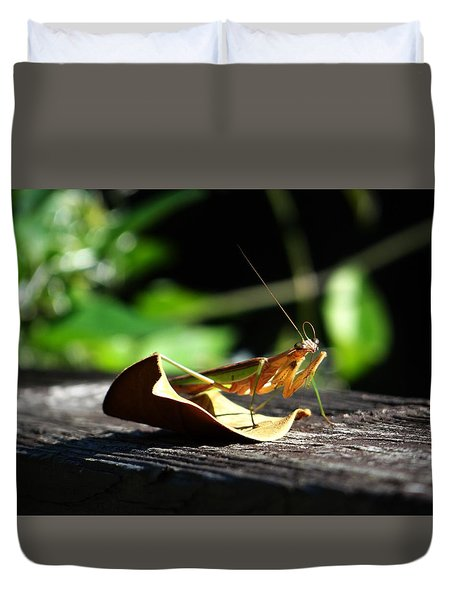 Leafy Praying Mantis Duvet Cover