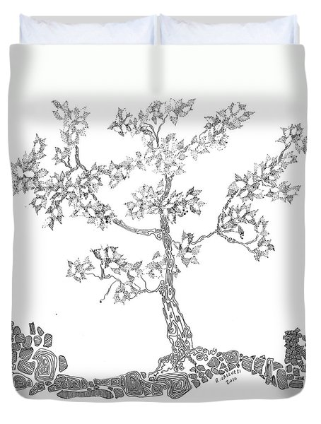 Leafy Jewels Duvet Cover by Regina Valluzzi