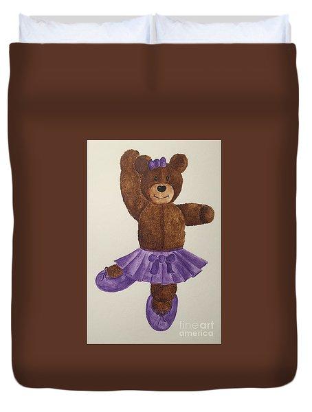 Duvet Cover featuring the painting Leah's Ballerina Bear 1 by Tamir Barkan