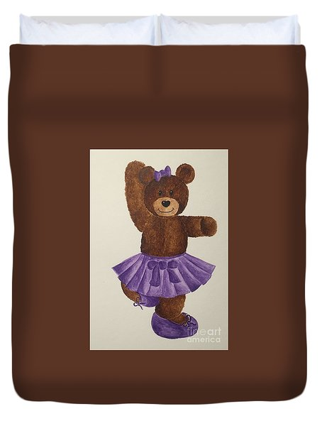 Duvet Cover featuring the painting Leah's Ballerina Bear 2 by Tamir Barkan