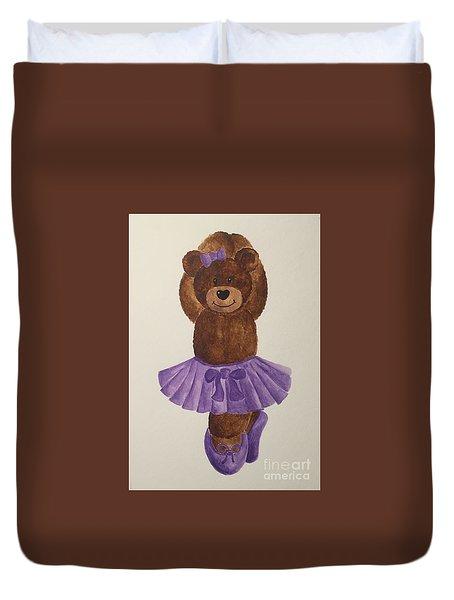 Duvet Cover featuring the painting Leah's Ballerina Bear 3 by Tamir Barkan