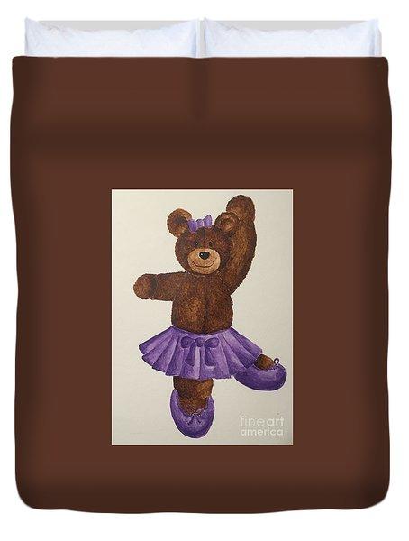Duvet Cover featuring the painting Leah's Ballerina Bear 5 by Tamir Barkan