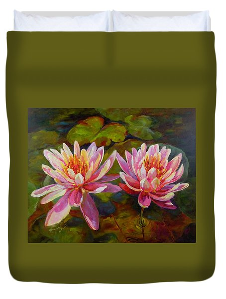Duvet Cover featuring the painting Lean On Me by Chris Brandley