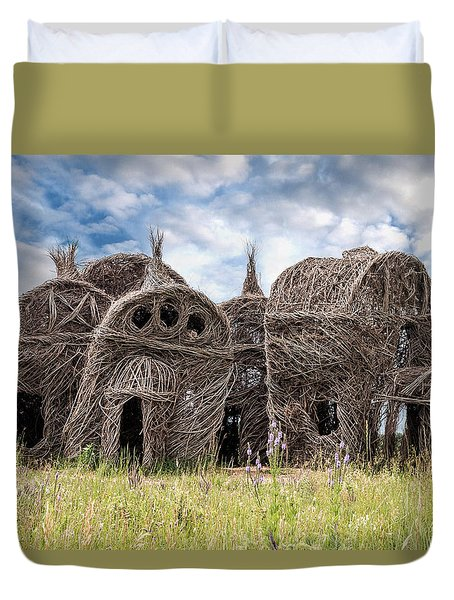 Lean On Me - Stick House Series 1/3 Duvet Cover by Patti Deters