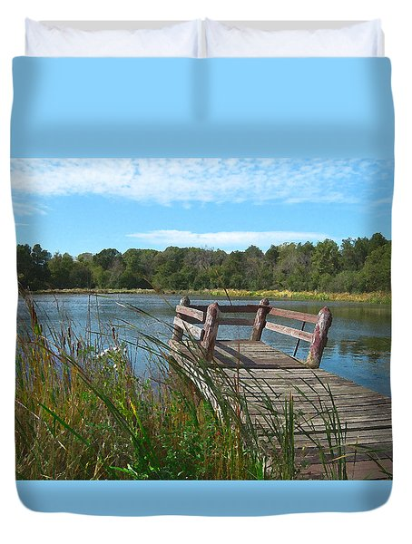 Leaning Pier At Pine Lake Duvet Cover