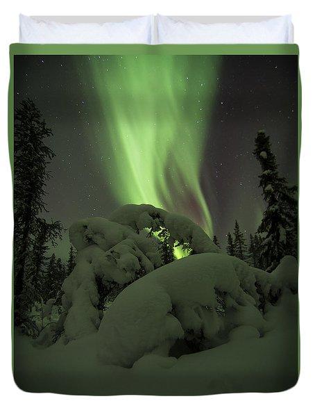 Leaning Spruce Aurora Duvet Cover