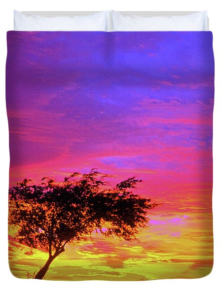 Leaning Tree At Sunset Duvet Cover