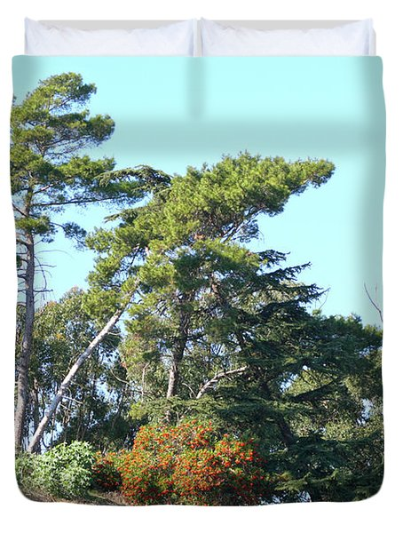 Leaning Trees On Hillside Duvet Cover