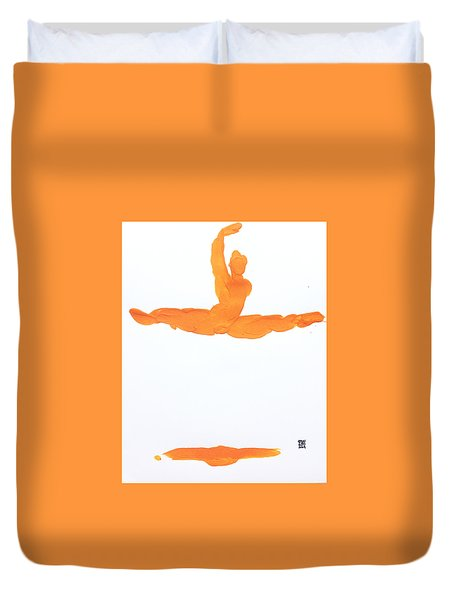 Duvet Cover featuring the painting Leap Brush Orange 1 by Shungaboy X