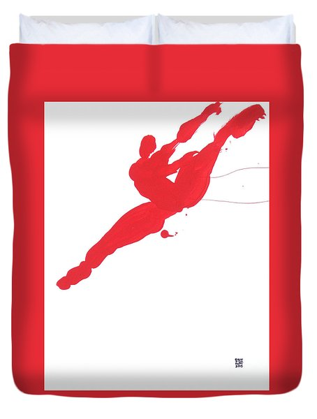 Duvet Cover featuring the painting Leap Brush Red 3 by Shungaboy X