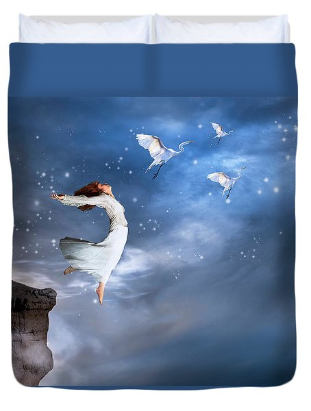 Duvet Cover featuring the digital art Leap Of Faith by Nicole Wilde