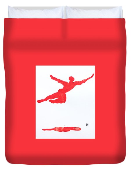 Leap Water Vermillion Duvet Cover by Shungaboy X