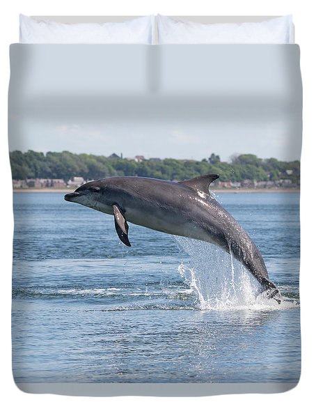 Duvet Cover featuring the photograph Leaping Dolphin - Moray Firth, Scotland by Karen Van Der Zijden
