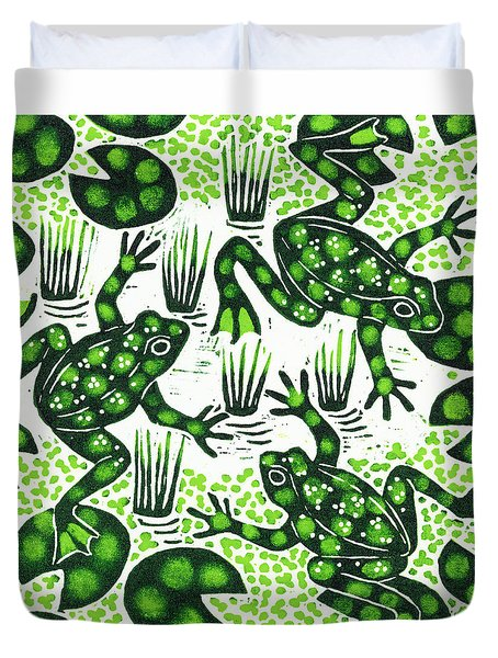 Leaping Frogs Duvet Cover by Nat Morley