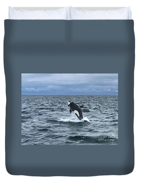 Leaping Orca Duvet Cover