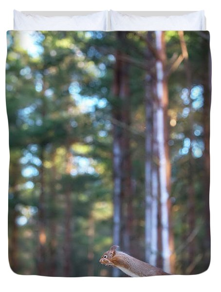 Leaping Red Squirrel Tall Duvet Cover