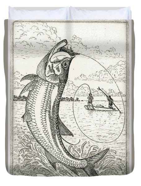 Duvet Cover featuring the drawing Leaping Tarpon by Charles Harden