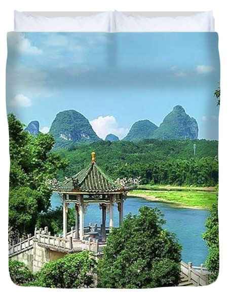 A View In Yangshuo Duvet Cover