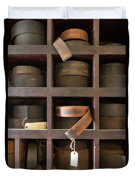 Duvet Cover featuring the photograph Leather Belt Storage At An Old Mill by Edward Fielding