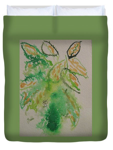 Duvet Cover featuring the drawing Leaves by AJ Brown