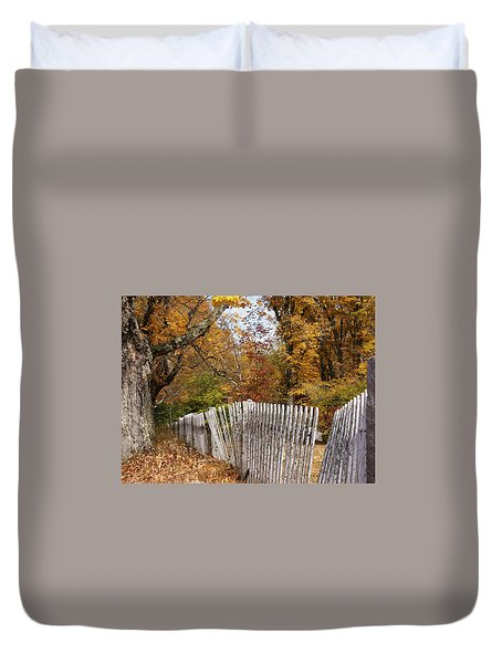 Leaves Along The Fence Duvet Cover