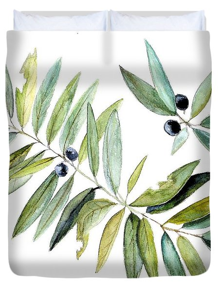 Leaves And Berries Duvet Cover