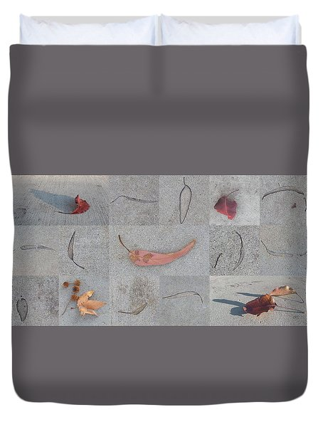 Duvet Cover featuring the photograph Leaves And Cracks Collage by Ben and Raisa Gertsberg