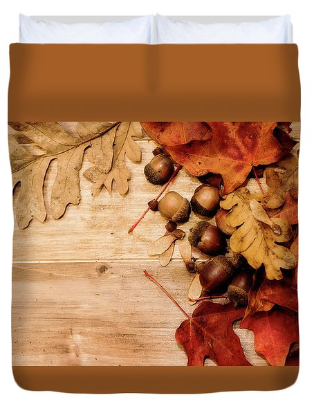 Duvet Cover featuring the photograph Leaves And Nuts 1 by Rebecca Cozart