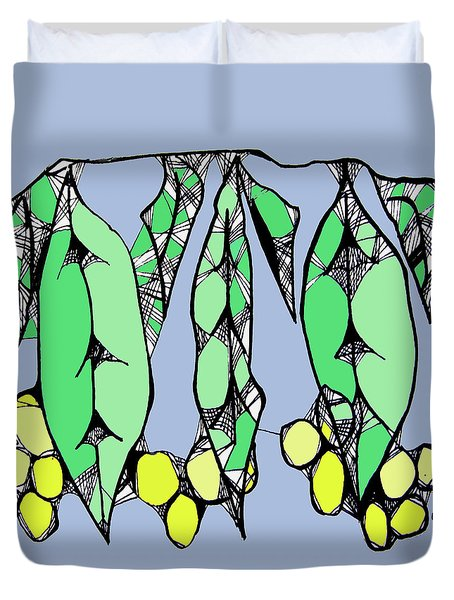 Leaves And Wattle Duvet Cover
