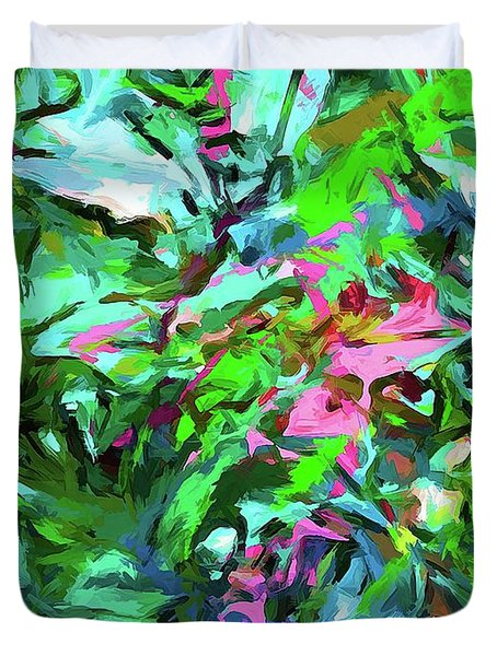 Leaves Buds Green Pink Duvet Cover