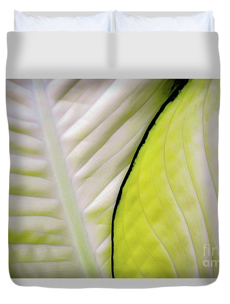 Duvet Cover featuring the photograph Leaves In White by D Davila
