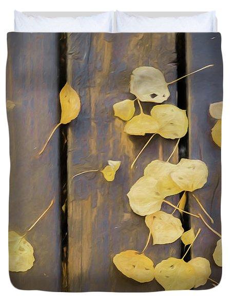 Leaves On Planks Duvet Cover