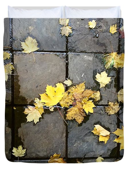 Leaves On Slate Duvet Cover