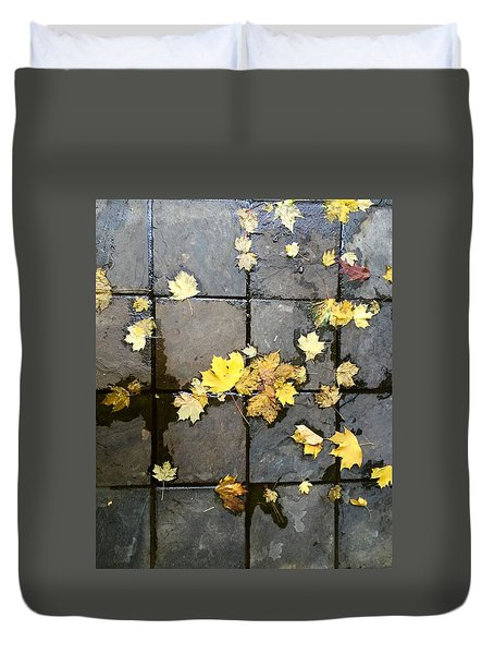 Leaves On Slate Duvet Cover by Suzanne Lorenz