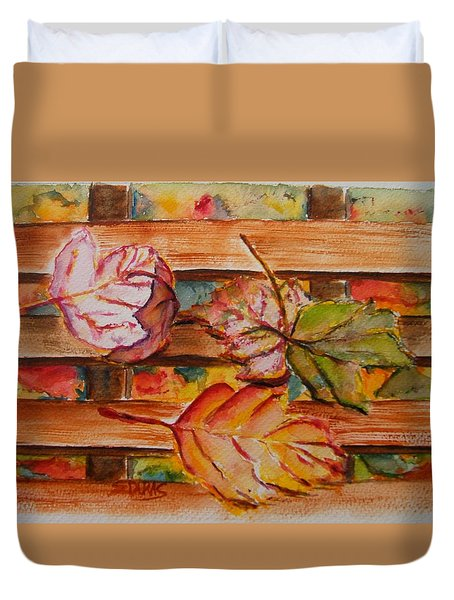 Leaves On The Bench Duvet Cover