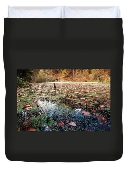 Leaves On The Lake Duvet Cover