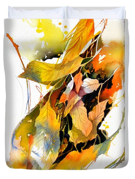 Duvet Cover featuring the painting Leaves by Rae Andrews