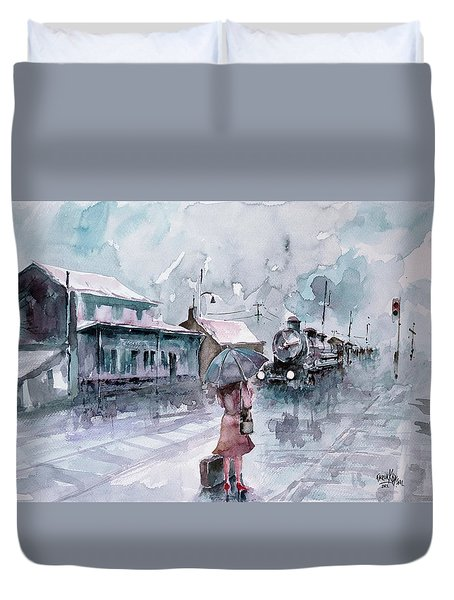 Duvet Cover featuring the painting Leaving... by Faruk Koksal