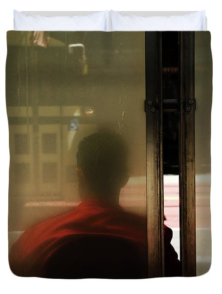 Leaving On A Train Duvet Cover