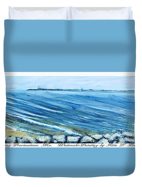 Duvet Cover featuring the painting Leaving Provincetown by Rita Brown