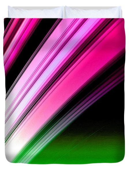 Leaving Saturn In Hot Pink And Green Duvet Cover