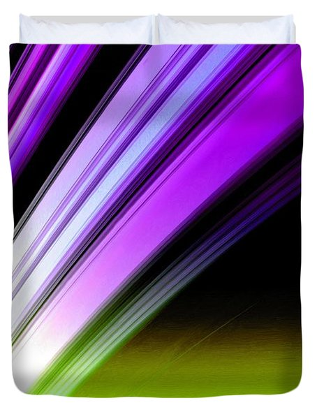 Leaving Saturn In Purple And Electric Green Duvet Cover