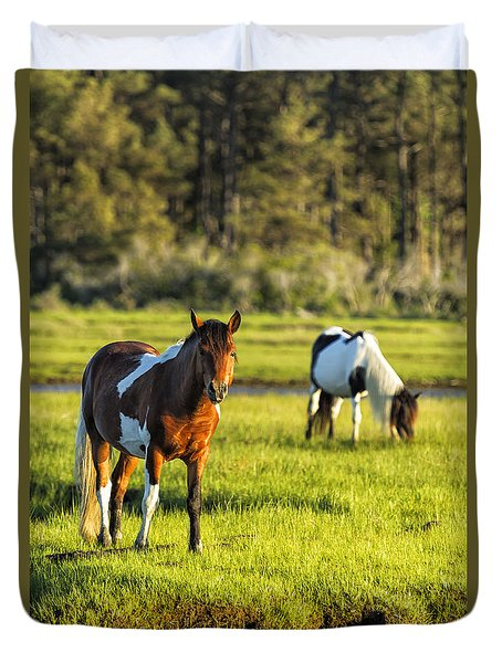 Leaving The Chincoteague Ponies Duvet Cover