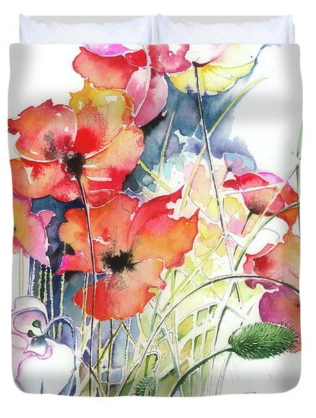 Duvet Cover featuring the painting Leaving The Shadow by Anna Ewa Miarczynska
