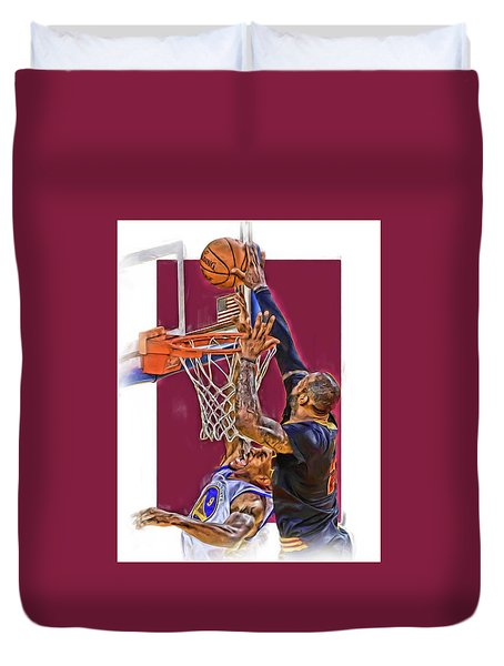 Lebron James Cleveland Cavaliers Oil Art Duvet Cover by Joe Hamilton